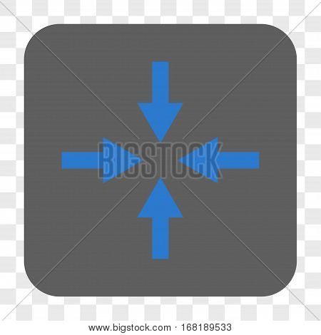 Compress Arrows interface toolbar button. Vector icon style is a flat symbol in a rounded square button blue and gray colors chess transparent background.