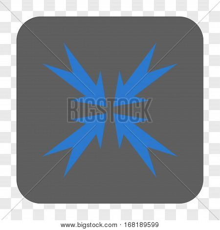 Compression Arrows interface toolbar button. Vector icon style is a flat symbol on a rounded square button blue and gray colors chess transparent background.