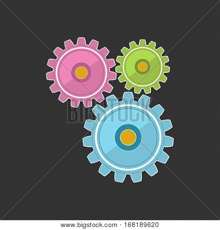Gears Isolated on Gray Background, Teamwork, Joint Effort ,Team Effort