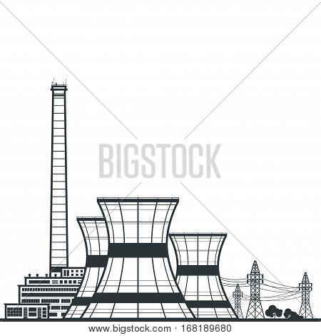 Silhouette Nuclear Power Plant, Silhouette Thermal Power Station and Text ,Nuclear Reactor and Power Lines, Illustration