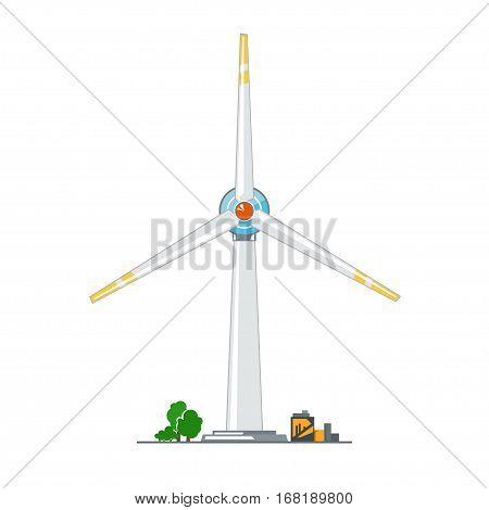 Wind Turbine on White Background, Horizontal Axis Wind Turbine