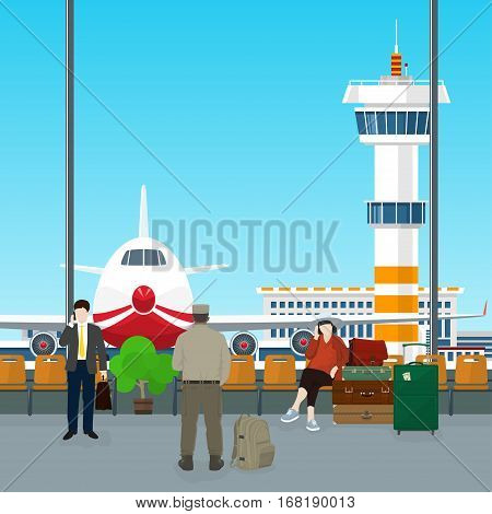 Waiting Room with People in Airport ,View on Airplane and Control Tower through the Window from a Waiting Room ,Scoreboard Arrivals at Airport ,Travel Concept ,Flat Design