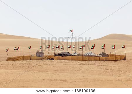 Desert camp at the Moreeb Dune in Liwa Oasis area. Emirate of Abu Dhabi United Arab Emirates Middle East