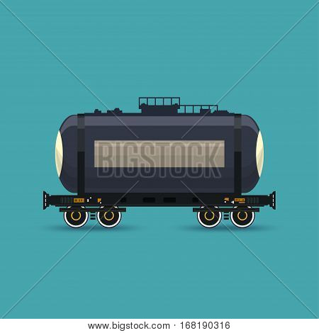 Tank on Railway Platform Isolated on Green Background ,Railway Transport, Railway Tank Car for Transportation of Liquid and Loose Freights