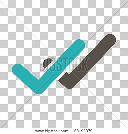 Validation icon. Vector illustration style is flat iconic bicolor symbol grey and cyan colors transparent background. Designed for web and software interfaces.