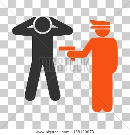 Arrest icon. Vector illustration style is flat iconic bicolor symbol orange and gray colors transparent background. Designed for web and software interfaces.
