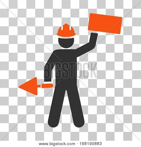 Builder With Brick icon. Vector illustration style is flat iconic bicolor symbol orange and gray colors transparent background. Designed for web and software interfaces.