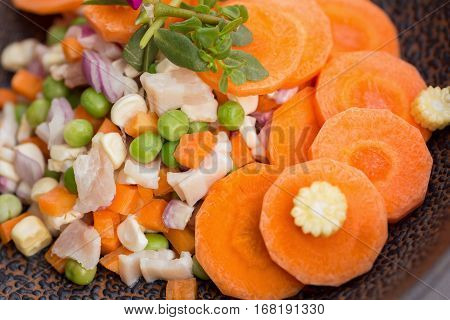 Cloes up ham salad and carrot slice