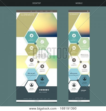 One Page Website Template with Blurred Background - Sunset Sky Header Design, Hexagonal Pattern - Desktop and Mobile Version