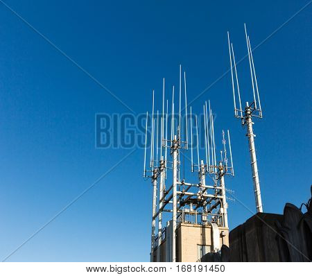 Closeup of telecommunication equipment on the roof