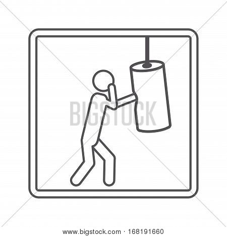 contour square shape pictogram man knocking bag weight vector illustration
