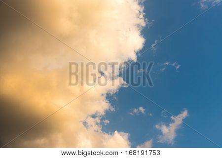 Evening Scene Of Blue Sky With  Orange Color Cloud