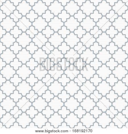 Traditional quatrefoil lattice pattern. Seamless vector background. Gray quatrefoil background.