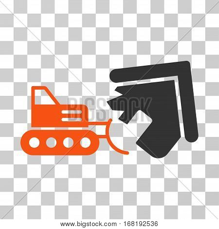 Demolition icon. Vector illustration style is flat iconic bicolor symbol orange and gray colors transparent background. Designed for web and software interfaces.