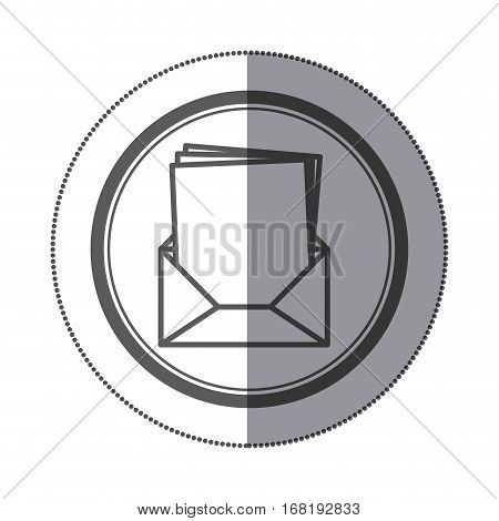 sticker circular shape with Blank paper envelopes opened with multiple sheets vector illustration