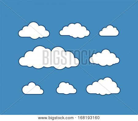 Cloud icons on blue sky. Vector icon set of clouds. Vector illustration