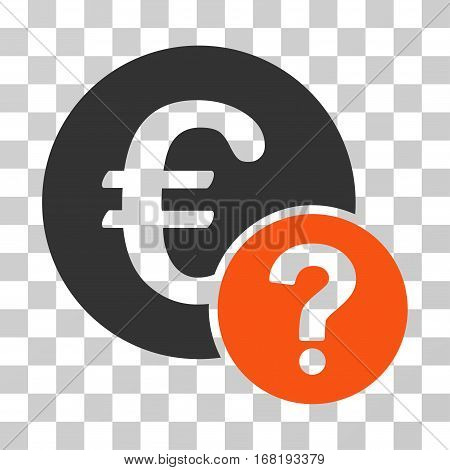 Euro Status icon. Vector illustration style is flat iconic bicolor symbol orange and gray colors transparent background. Designed for web and software interfaces.