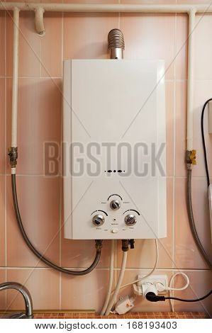 Housing equipment - Gas water heater in the kitchen