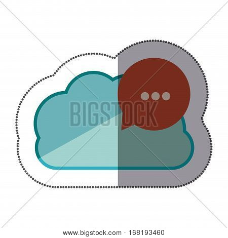 sticker blue cloud with red dialog with white suspending points vector illustration