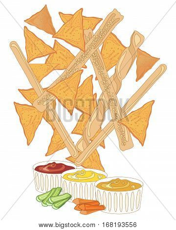 an illustaration of nacho and bread stick snacks with dips on a white background