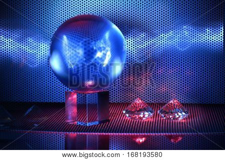 Magic crystal ball with blue lightning on a table