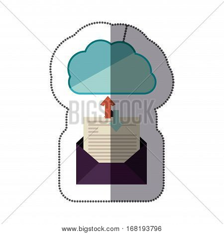 sticker blue cloud with arrows in opposite direction shape with blank paper envelopes transfer information