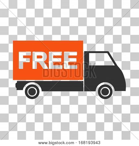 Free Shipment icon. Vector illustration style is flat iconic bicolor symbol orange and gray colors transparent background. Designed for web and software interfaces.