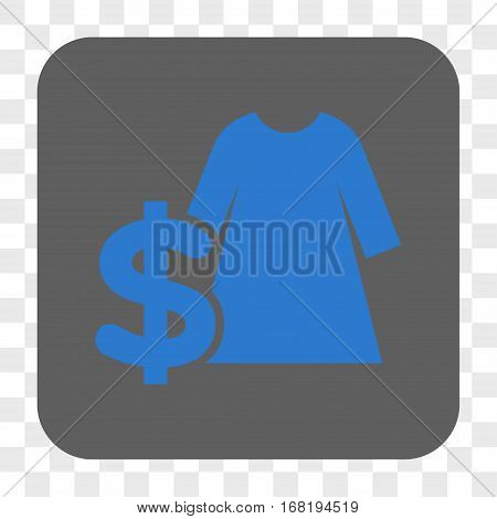 Dress Price interface toolbar button. Vector icon style is a flat symbol inside a rounded square button blue and gray colors chess transparent background.