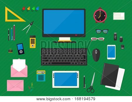 Flat multicolored design vector illustration of workplace with computer devices office objects and business documents