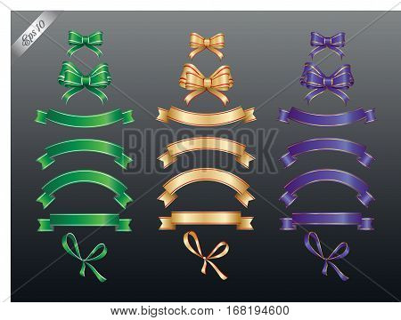 Set of colored ribbon and bow or banners for your text. Vector illustration and design elements