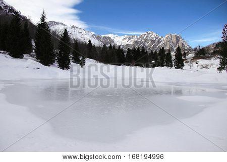 Frozen lake in Italy, near Trentino Alto Adige
