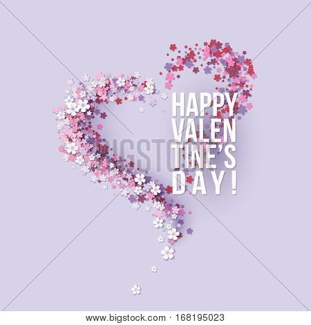 Valentines Day card with pink flowers heart shaped with text. Vector illustration