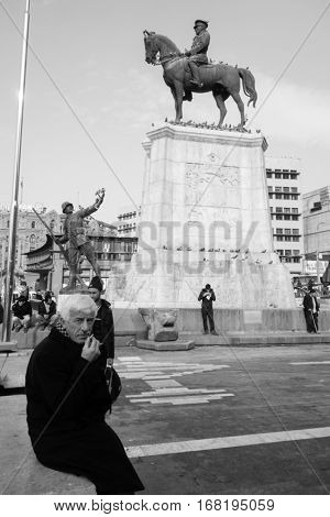 ANKARA, TURKEY - JANUARY 17, 2017: Statue of Victory in Ulus Square. Ulus, Ankara. The monument was inaugurated on 24 November 1927 and It was restored in 2002.