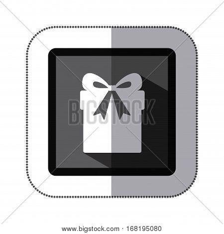 sticker monochrome square with giftbox with ribbon vector illustration