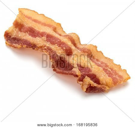 cooked crispy slice of bacon isolated on white background.