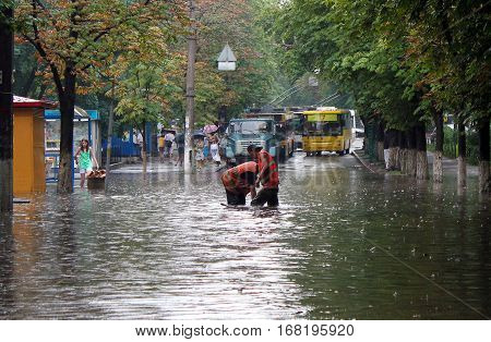 Kyiv Ukraine - July 12 2011: Many streets in the city were flooded after heavy rain.