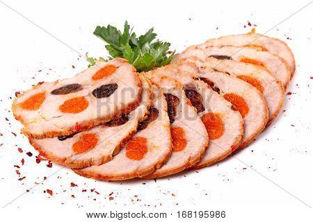 Sliced Meat Filled With Dried Apricots And Raisin
