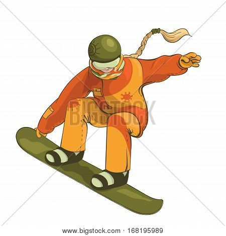 Illustration of a snowboarder during a jump tail grab isolated on the white background.