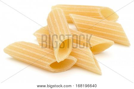 Italian pasta isolated on white background. Pennoni. Penne rigate