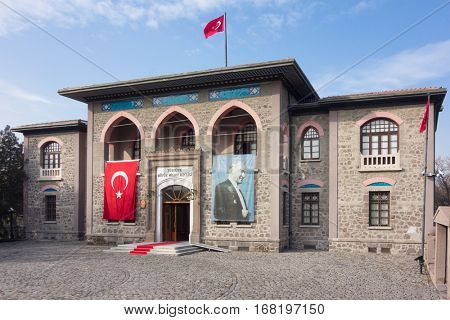 ANKARA, TURKEY - 17 JANUARY 2017: The first Parliament Building of Republic of Turkey. The building was used until October 18,  1924.  Currently, it is serving as  Museum of War of Independence .