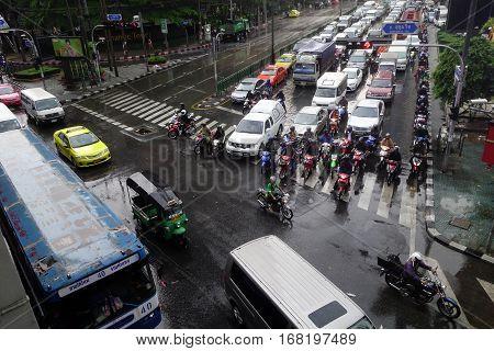 Bangkok Traffic Jam At Petchburi Road
