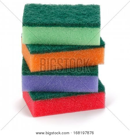 Stacked sponges isolated on white background cutout.