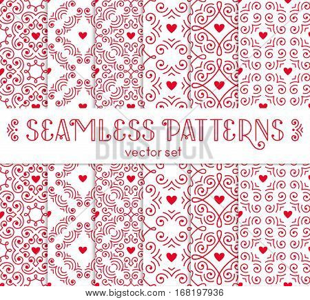 Seamless pattern with red hearts. Vector set of ornamental backgrounds for Valentines Day design. EPS10.