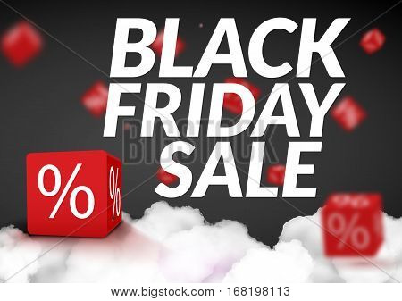 Black Friday sale design template. Black Friday banner poster with 3d box. Vector illustration.