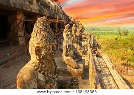 Historic Undavalli caves near Vijayawada city in India