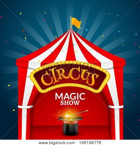 Circus tent poster. Circus retro sign invitation event. Fun carnival vector illustration. Amusement performance.