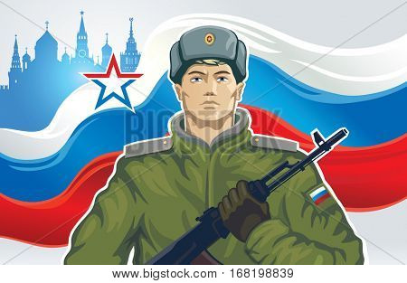 Russian soldier with kalashnikov of the background on Russian flag.