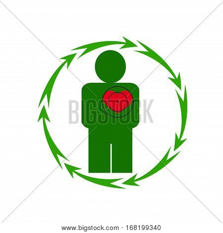 Vector illustration. The emblem logo. The human heart is in danger. Healthy lifestyle. Human. Seven in a circle of arrows. Different colors.