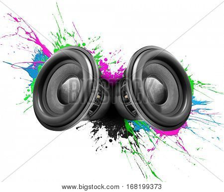 Music speakers with colorful paint splashes on white background
