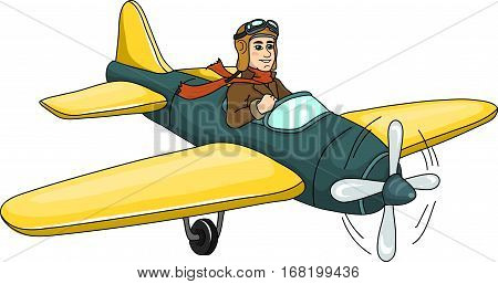 A  pilot in a yellow glider on a white background.